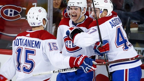 <p>               Montreal Canadiens' Artturi Lehkonen, (62) of Finland, celebrates his goal against the Calgary Flames with teammates during the third period of an NHL hockey game Thursday, Nov. 15, 2018, in Calgary, Alberta. (Jeff McIntosh/The Canadian Press via AP)             </p>