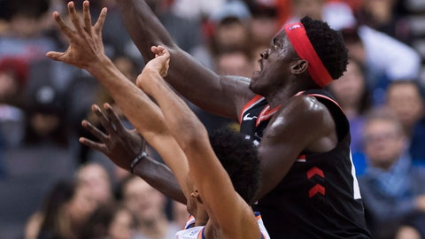 <p>               Toronto Raptors forward Pascal Siakam (43) drives to the net past New York Knicks guard Allonzo Trier (14) during second half NBA basketball action in Toronto on Saturday, Nov. 10, 2018. (Nathan Denette/The Canadian Press via AP)             </p>