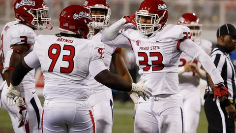 <p>               Fresno State defensive end Kwami Jones (33) celebrates with defensive tackle Jasad Haynes (93) after UNLV's quarterback was sacked during the second half of an NCAA college football game Saturday, Nov. 3, 2018, in Las Vegas. (AP Photo/John Locher)             </p>