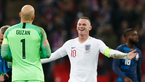 <p>               England's Wayne Rooney, right, jokes with Unites States goalkeeper Brad Guzan who stopped Rooney's shot on goal during the international friendly soccer match between England and the United States at Wembley stadium, Thursday, Nov. 15, 2018. (AP Photo/Alastair Grant)             </p>