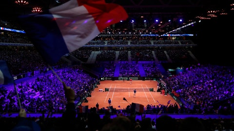 <p>               France's Nicolas Mahut and Pierre Hughes Herbert, bottom, in their Davis Cup final against Croatia's Ivan Dodig and Mate Pavic, Saturday, Nov. 24, 2018 in Lille, northern France. Croatia is within one point of a second Davis Cup title after Borna Coric and Marin Cilic dispatched their French rivals in the opening singles matches of the final to take a 2-0 lead. (AP Photo/Thibault Camus)             </p>