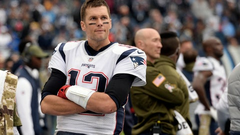 <p>               New England Patriots quarterback Tom Brady watches from the sideline after leaving the game in the second half of the Patriots' 34-10 loss to the Tennessee Titans in an NFL football game Sunday, Nov. 11, 2018, in Nashville, Tenn. (AP Photo/Mark Zaleski)             </p>