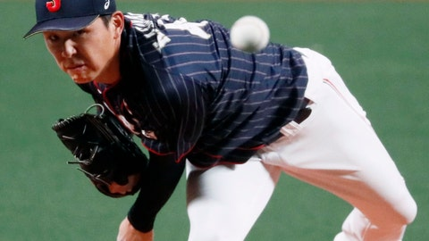 <p>               All Japan starter Shotaro Kasahara pitches against MLB All-Stars in Game 6 at their All-Stars Series baseball at Nagoya Dome in Nagoya, central Japan, Thursday, Nov. 15, 2018. Kasahara struck out four and gave up four hits over 4 2/3 scoreless innings for Japan's 4-1 win. (Kyodo News via AP)             </p>