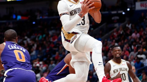 <p>               New Orleans Pelicans forward Anthony Davis (23) drives to the basket in the second half of an NBA basketball game against the Phoenix Suns in New Orleans, Saturday, Nov. 10, 2018. The Pelicans won 119-99. (AP Photo/Gerald Herbert)             </p>