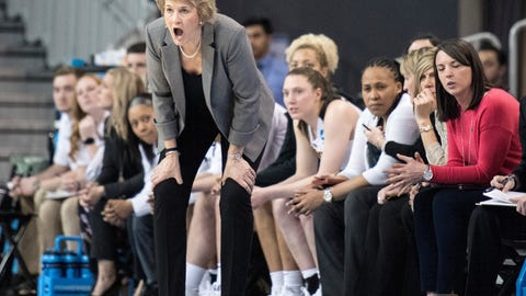 <p>               FILE - In this March 17, 2018, file photo, Iowa head coach Lisa Bluder yells instructions to her players during the second half against Creighton in the first-round game in the NCAA women's college basketball tournament in Los Angeles.  Iowa's women's basketball teams made history on Monday, Nov. 26, 2018, when Iowa, Iowa State and Drake all made it into the Top 25 for the first time in 20 years. (AP Photo/Kyusung Gong, File)             </p>