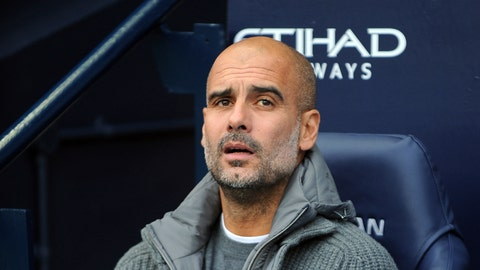 <p>               Manchester City manager Josep Guardiola looks out from the bench prior the English Premier League soccer match between Manchester City and Southampton at Etihad stadium in Manchester, England, Sunday, Nov. 4, 2018. (AP Photo/Rui Vieira)             </p>