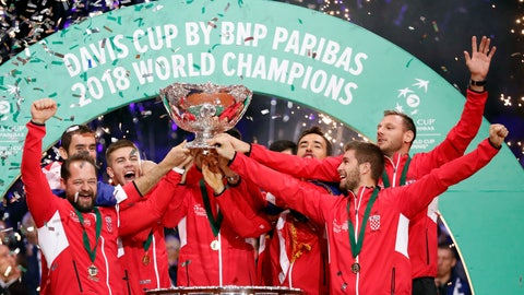 <p>               The Croatia's team captain Zeljko Krajan, left, and players lift up the cup after the team won the Davis Cup final between France and Croatia Sunday, Nov. 25, 2018 in Lille, northern France. Croatia claimed a second title in the team event following its maiden win in 2005. (AP Photo/Thibault Camus)             </p>