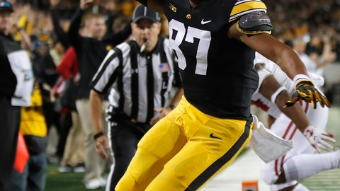 <p>               FILE - In this Sept. 22, 2018, file photo, Iowa tight end Noah Fant gestures after scoring during the second half of an NCAA college football game against Wisconsin, in Iowa City. Fant says he's leaving school early to enter the NFL draft. Fant announced on his Instagram page on Friday, Nov. 30, 2018, that he intends to forego his final season of eligibility to turn pro. (AP Photo/Matthew Putney, File)             </p>