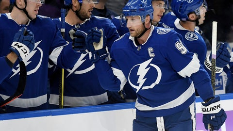 <p>               Tampa Bay Lightning center Steven Stamkos (91) celebrates his goal during the first period of an NHL hockey game against the Edmonton Oilers on Tuesday, Nov. 6, 2018, in Tampa, Fla. (AP Photo/Jason Behnken)             </p>