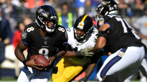 <p>               FILE - In this Nov. 4, 2018, file photo ,Baltimore Ravens quarterback Lamar Jackson (8) rushes the ball in the first half of an NFL football game against the Pittsburgh Steelers in Baltimore. Joe Flacco's hip injury means extra practice time for Ravens backup quarterbacks Lamar Jackson and Robert Griffin III, and perhaps one of them will make their first start of the season.  (AP Photo/Nick Wass, File)             </p>
