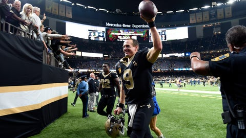 <p>               New Orleans Saints quarterback Drew Brees (9) reacts to fans after an NFL football game against the Los Angeles Rams in New Orleans, Sunday, Nov. 4, 2018. The Saints won 45-35. (AP Photo/Bill Feig)             </p>