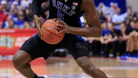 <p>               Duke forward RJ Barrett (5) looks for net over San Diego State during the first half of an NCAA college basketball game at the Maui Invitational, Monday, Nov. 19, 2018, in Lahaina, Hawaii. (AP Photo/Marco Garcia)             </p>