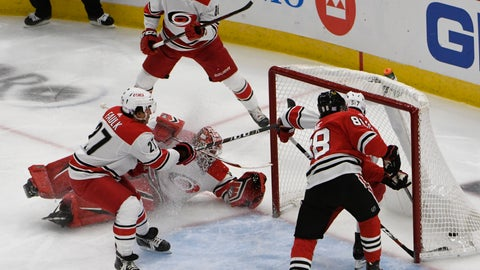 <p>               Chicago Blackhawks right wing Patrick Kane (88) scores a goal on Carolina Hurricanes goaltender Scott Darling, second left, during the second period of an NHL hockey game Thursday, Nov. 8, 2018, in Chicago. (AP Photo/David Banks)             </p>