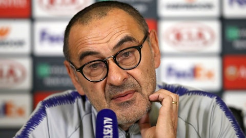 <p>               Chelsea manager Maurizio Sarri speaks during a press conference at Cobham Training Centre, Stoke D'Abernon, Wednesday, Nov. 28, 2018. Chelsea play PAOK in an Europa League group stage soccer match on Thursday. (John Walton/PA via AP)             </p>