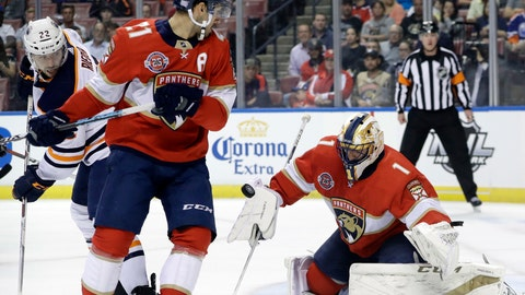 <p>               Florida Panthers goaltender Roberto Luongo (1) stops the puck as Edmonton Oilers right wing Tobias Rieder (22) and Florida Panthers center Vincent Trocheck (21) watch the play during the first period of an NHL hockey game, Thursday, Nov. 8, 2018, in Sunrise, Fla. (AP Photo/Lynne Sladky)             </p>
