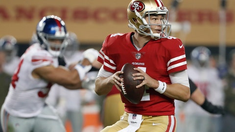<p>               FILE - In this Nov. 12, 2018, file photo, San Francisco 49ers quarterback Nick Mullens looks for a receiver during the second half of the team's NFL football game against the New York Giants in Santa Clara, Calif. Mullens will make the first road start of his NFL career against the Tampa Bay Buccaneers, his first chance to show how he handles a hostile environment after making his first two starts at home. (AP Photo/Tony Avelar, File)             </p>