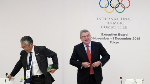 <p>               International Olympic Committee (IOC) President Thomas Bach, right, escorts Japanese Olympic Committee (JOC) President Tsunekazu Takeda  during an IOC Executive Board meeting in Tokyo Friday, Nov. 30, 2018. The focus of the meeting was a decision on what to do with boxing's corruption-plagued international federation. (AP Photo/Eugene Hoshiko)             </p>