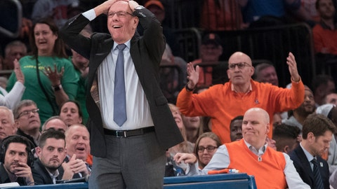 <p>               Syracuse head coach Jim Boeheim, foreground, reacts during the second half of an NCAA college basketball consolation game against Oregon in the 2K Empire Classic, Friday, Nov. 16, 2018, at Madison Square Garden in New York. (AP Photo/Mary Altaffer)             </p>
