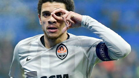 <p>               Shakhtar's Taison celebrates after scoring his side's second goal during the soccer Champions League match between 1899 Hoffenheim and Shakhtar Donetsk in Sinsheim, southern Germany, Tuesday, Nov. 27, 2018. (Uwe Anspach/dpa via AP)             </p>