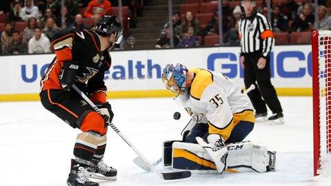 <p>               Nashville Predators goaltender Pekka Rinne, right, of Finland, stops a shot by Anaheim Ducks' Andrew Cogliano during the second period of an NHL hockey game, Monday, Nov. 12, 2018, in Anaheim, Calif. (AP Photo/Jae C. Hong)             </p>