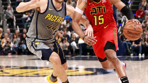 <p>               Atlanta Hawks forward Vince Carter (15) drives past Indiana Pacers forward Bojan Bogdanovich during the first half of an NBA basketball game, Saturday, Nov. 17, 2018, in Indianapolis. (AP Photo/R Brent Smith)             </p>