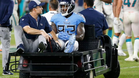 <p>               FILE- In this Sept. 9, 2018 file photo, Tennessee Titans tight end Delanie Walker (82) is driven off the field after he injured his leg, during the second half of an NFL football game against the Miami Dolphins, in Miami Gardens, Fla. Rookie head coach Mike Vrabel has had no time to think longingly of how much better the struggling Tennessee offense might be if only three-time Pro Bowl tight end Walker hadn't broken his ankle in the Titans' season opener.  That next man up approach is a necessity as much as cliche. (AP Photo/Wilfredo Lee, File)             </p>