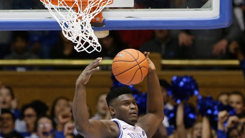 <p>               Duke's Zion Williamson dunks against Indiana during the first half of an NCAA college basketball game in Durham, N.C., Tuesday, Nov. 27, 2018. (AP Photo/Gerry Broome)             </p>