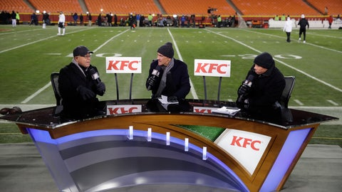 <p>               FILE - In this Thursday, Dec. 8, 2016 file photo, announcers from left: Mike Tirico, Tony Dungy and Rodney Harrison work on the set inside Arrowhead Stadium before an NFL football game between the Kansas City Chiefs and the Oakland Raiders, in Kansas City, Mo. When fans tune into NBC's Thanksgiving night broadcast of the Falcons-Saints game, they might do a double take. Rather than seeing Mike Tirico, Tony Dungy and Rodney Harrison in the studio for the pregame and halftime programs, those three gentlemen will be calling the game. (AP Photo/Charlie Riedel, File)             </p>