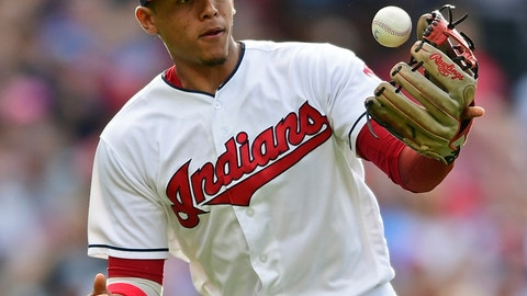 <p>               FILE - In this June 23, 2018, file photo, Cleveland Indians' Erik Gonzalez bobbles a ball hit by Detroit Tigers' Jose Iglesias during the fourth inning of a baseball game in Cleveland. The Indians traded versatile infielder Erik Gonzalez to the Pittsburgh Pirates in a five-player swap. (AP Photo/David Dermer, File)             </p>