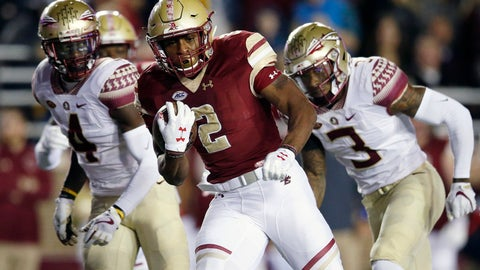<p>               FILE - In this Oct. 27, 2017, file photo, Boston College running back AJ Dillon (2) carries the ball during the first half of an NCAA college football game against Florida State in Boston.  As a freshman, Dillon ran for 149 yards and a touchdown in BC's 35-3 rout of the Seminoles. (AP Photo/Michael Dwyer, File)             </p>