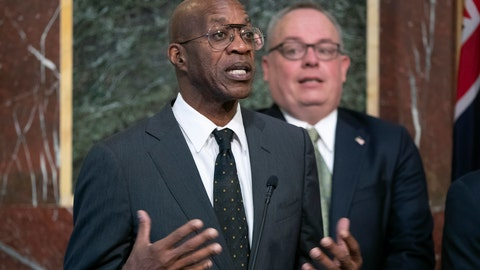 <p>               FILE - In this Wednesday, Oct. 31, 2018, file photo, Edwin Moses, chairman of the U.S. Anti-Doping Agency, speaks at a news conference during a White House event aimed at reforming the World Anti-Doping Agency, in Washington. Moses sent a tersely worded letter to leaders of the World Anti-Doping Agency, asking for an investigation into the culture at WADA that would expand beyond athletes' representative Beckie Scott's claim that she was bullied at a recent meeting. (AP Photo/J. Scott Applewhite, File)             </p>