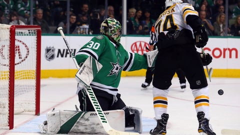 <p>               Dallas Stars goaltender Ben Bishop (30) defends against Boston Bruins left wing Jake DeBrusk (74) in the second period of an NHL hockey game Friday, Nov. 16, 2018, in Dallas. (AP Photo/Richard W. Rodriguez)             </p>
