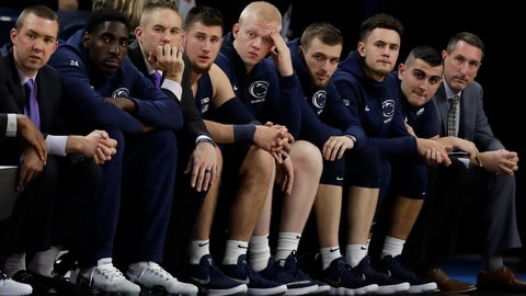 <p>               Penn State players react as they watch teammates during the second half of an NCAA college basketball game against DePaul, Thursday, Nov. 15, 2018, in Chicago. DePaul won 72-70 in overtime. (AP Photo/Nam Y. Huh)             </p>