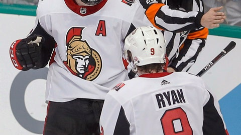 <p>               Ottawa Senators forward Zack Smith (15) is congratulated by forward Bobby Ryan (9) after scoring a goal during the third period of an NHL hockey game against the Dallas Stars, Friday, Nov. 23, 2018, in Dallas. Dallas won 6-4. (AP Photo/Brandon Wade)             </p>