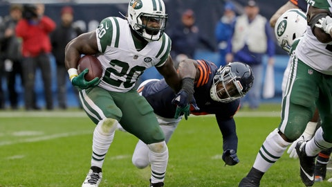 <p>               FILE - In this Oct. 28, 2018 file photo, New York Jets running back Isaiah Crowell (20) runs against Chicago Bears linebacker Leonard Floyd (94) during the second half of an NFL football game in Chicago. When the New York Jets run the ball Sunday, Nov. 4 it will be a test of their blocking against the Miami Dolphins' tackling to see who's worse.  (AP Photo/Nam Y. Huh, File)             </p>