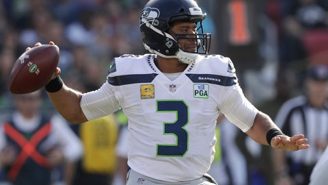 <p>               Seattle Seahawks quarterback Russell Wilson passes against the Los Angeles Rams during the first half in an NFL football game Sunday, Nov. 11, 2018, in Los Angeles. (AP Photo/Alex Gallardo)             </p>