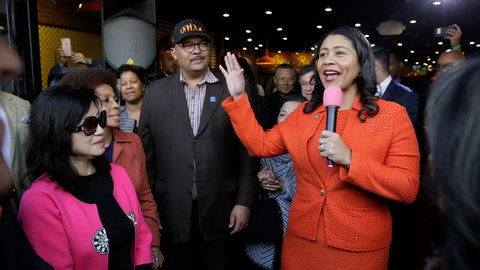 <p>               San Francisco Mayor London Breed, right, speaks during the opening of Lefty O'Doul's new 20,000 square foot Baseball Ballpark Buffet & Café at Fisherman's Wharf, as Anita Lee, left, widow of former Mayor Ed Lee, listens, Tuesday, Nov. 20, 2018, in San Francisco. The popular Union Square bar and restaurant Lefty O'Doul's closed in January 2017 due to a dispute between the owner and his landlord, but now the restaurant has returned on the wharf. Lefty O'Doul's was named after the well-known and respected New York Giants star outfielder. With a .398 batting average, he boasted the highest average out of any outfielder in the 20th century. (AP Photo/Eric Risberg)             </p>