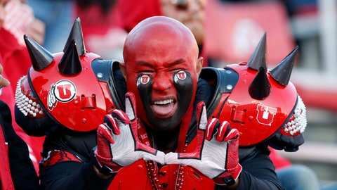 <p>               A Utah fan shows his support in the first half during an NCAA college football game against Oregon Saturday Nov. 10, 2018, in Salt Lake City. (AP Photo/Rick Bowmer)             </p>