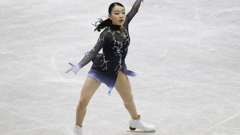 <p>               Rika Kihira of Japan performs during a Ladies free skating of the NHK Trophy Figure Skating in Hiroshima, western Japan, Saturday, Nov. 10, 2018. Kihira upstaged the favorites on Saturday to win the NHK Trophy in her Grand Prix debut. (AP Photo/Koji Sasahara)             </p>