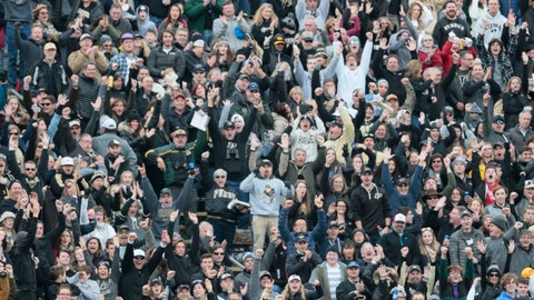 <p>               Purdue fans celebrate a touchdown against Iowa in the second half of an NCAA college football game in West Lafayette, Ind., Saturday, Nov. 3, 2018. (AP Photo/AJ Mast)             </p>