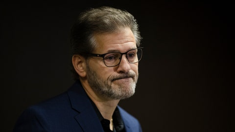 <p>               Former Philadelphia Flyers general manager Ron Hextall speaks with members of the media during a news conference in Voorhees, N.J., Friday, Nov. 30, 2018. The Flyers fired Hextall on Monday, Nov. 26. (AP Photo/Matt Rourke)             </p>