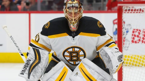 <p>               FILE - In this Tuesday, Feb. 6, 2018 file photo, Boston Bruins goaltender Tuukka Rask (40) plays against the Detroit Red Wings in the second period of an NHL hockey game in Detroit. Boston Bruins goaltender Tuukka Rask returned to practice on Tuesday, Nov. 13, 2018 after taking a three-day leave of absence to attend to a personal matter. (AP Photo/Paul Sancya, File)             </p>