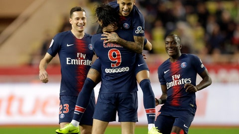 <p>               PSG's Edinson Cavani, center, celebrates with teammate Neymar, top center, after scoring his side's first goal of the game during the French League One soccer match between AS Monaco and Paris Saint-Germain at Stade Louis II in Monaco, Sunday, Nov. 11, 2018 (AP Photo/Claude Paris)             </p>