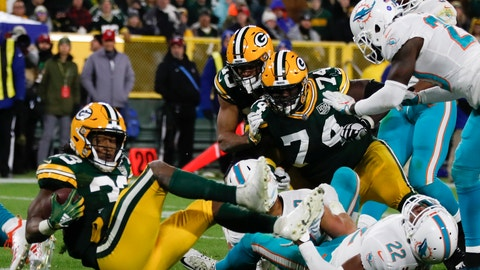 <p>               Green Bay Packers' Aaron Jones runs for a touchdown during the second half of an NFL football game against the Miami Dolphins Sunday, Nov. 11, 2018, in Green Bay, Wis. (AP Photo/Matt Ludtke)             </p>