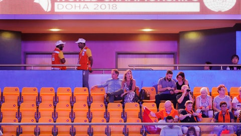 <p>               Spectators attend the start of the second and last day of the apparatus finals of the Gymnastics World Championships at the Aspire Dome in Doha, Qatar, Saturday, Nov. 3, 2018. Logistically, Qatar pulled off the 2018 world gymnastics championships largely without a hitch, yet the majority of the 10-day event was played in front of sparse crowds at the Aspire Dome. (AP Photo/Vadim Ghirda)             </p>