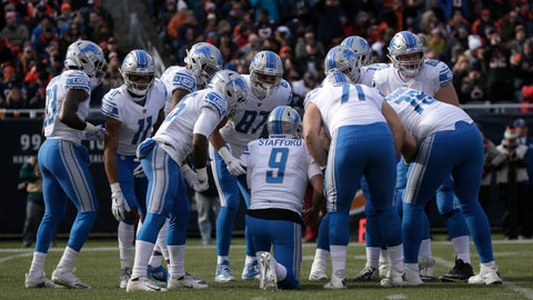 <p>               FILE - In this Nov. 11, 2018, file photo, Detroit Lions quarterback Matthew Stafford (9) huddles with teammates during the first half of an NFL football game against the Chicago Bears in Chicago. After three consecutive losses, the Lions host Carolina on Sunday. That game is followed by a Thanksgiving matchup with Chicago and another home test against the NFC West-leading Rams. There's time for Detroit to rally, but the path forward looks difficult. (AP Photo/David Banks, File)             </p>
