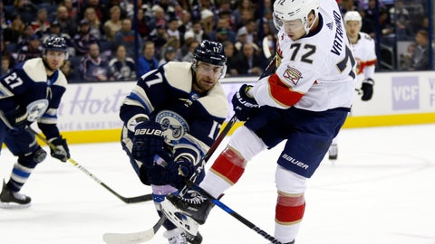 <p>               Florida Panthers forward Frank Vatrano, right, gets tangled up with Columbus Blue Jackets forward Brandon Dubinsky, center, during the first period of an NHL hockey game in Columbus, Ohio, Thursday, Nov. 15, 2018. (AP Photo/Paul Vernon)             </p>