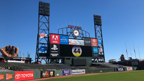 <p>               The number 44 for Hall of Famer Willie McCovey is displayed on the center field scoreboard at AT&T Park in San Francisco, Wednesday, Nov. 7, 2018. On Thursday the team will hold a public celebration of life for McCovey at the park. McCovey died on Oct. 31, 2018 at age 80. (AP Photo/Janie McCauley)             </p>