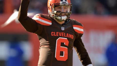<p>               Cleveland Browns quarterback Baker Mayfield celebrates a 13-yard pass to runningback Nick Chubb in the first half of an NFL football game against the Atlanta Falcons, Sunday, Nov. 11, 2018, in Cleveland. (AP Photo/David Richard)             </p>