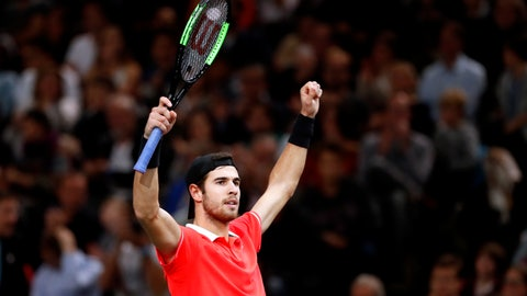 <p>               Karen Khachanov of Russia celebrates after defeating Dominic Thiem of Austria during their semifinal match of the Paris Masters tennis tournament at the Bercy Arena in Paris, France, Saturday, Nov. 3, 2018. (AP Photo/Thibault Camus)             </p>